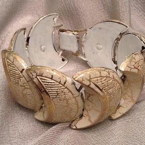 Vintage enamel half moon bracelet